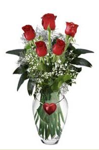İstanbul Ümraniye internetten çiçek siparişi  5 adet kirmizi gül ve kalp çubuklu