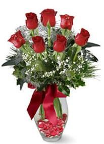 İstanbul Ümraniye internetten çiçek siparişi  7 adet kirmizi gül cam vazo yada mika vazoda