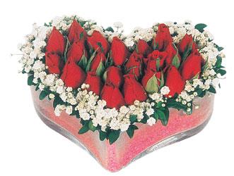 İstanbul Ümraniye çiçekçi telefonları  mika kalpte kirmizi güller 9