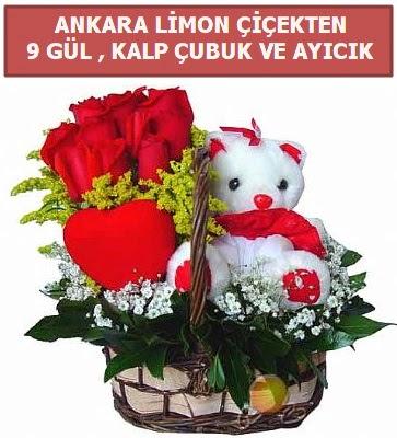 Kalp çubuk sepette 9 gül ve ayıcık  İstanbul Ümraniye çiçekçi telefonları