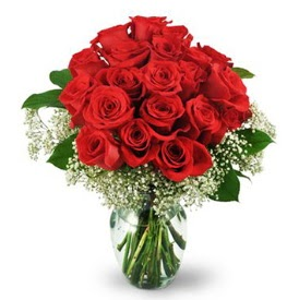 25 adet kırmızı gül cam vazoda  İstanbul Ümraniye çiçek , çiçekçi , çiçekçilik