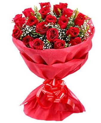 21 adet kırmızı gülden modern buket  İstanbul Ümraniye çiçek gönderme