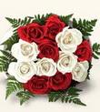 İstanbul Ümraniye çiçek , çiçekçi , çiçekçilik  10 adet kirmizi beyaz güller - anneler günü için ideal seçimdir -