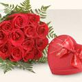 İstanbul Ümraniye kaliteli taze ve ucuz çiçekler  10 adet gül ve kalp çikolata