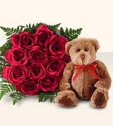 9 adet gül ve oyuncak  İstanbul Ümraniye çiçek , çiçekçi , çiçekçilik