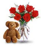 vazoda 6 adet gül ve oyuncak  İstanbul Ümraniye çiçek yolla , çiçek gönder , çiçekçi