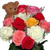 renkli güller ve ayicik   İstanbul Ümraniye hediye sevgilime hediye çiçek