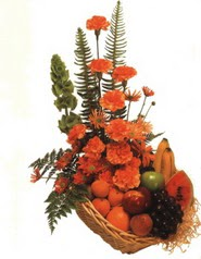 sepet kir çiçekleri meyva   İstanbul Ümraniye çiçek gönderme
