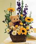 karisik aranjman ve ayicik   İstanbul Ümraniye çiçek gönderme