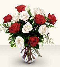İstanbul Ümraniye uluslararası çiçek gönderme  6 adet kirmizi 6 adet beyaz gül cam içerisinde