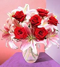 İstanbul Ümraniye uluslararası çiçek gönderme  2 adet dal kazablanka 6 adet kirmizi gül vazoda