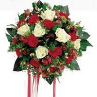 İstanbul Ümraniye ucuz çiçek gönder  6 adet kirmizi 6 adet beyaz ve kir çiçekleri buket