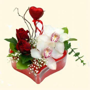 İstanbul Ümraniye hediye sevgilime hediye çiçek  1 kandil orkide 5 adet kirmizi gül mika kalp