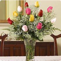 İstanbul Ümraniye internetten çiçek siparişi  renkli gül 11 adet çiçekçi den cam yada mika vazo tanzimi