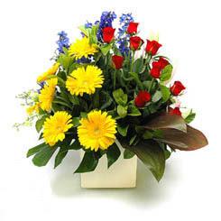 İstanbul Ümraniye online çiçek gönderme sipariş  9 adet gül ve kir çiçekleri cam yada mika vazoda