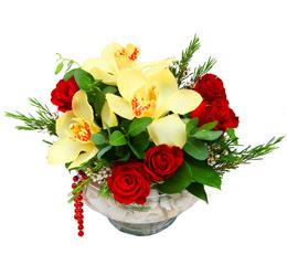 İstanbul Ümraniye çiçek gönderme  1 adet orkide 5 adet gül cam yada mikada