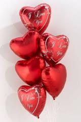 İstanbul Ümraniye İnternetten çiçek siparişi  6 adet kirmizi folyo kalp uçan balon buketi