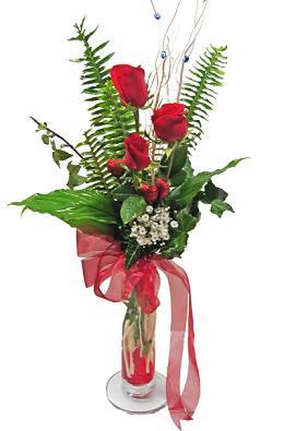 Çiçek gönderin cam vazoda 3 gül çiçekleri  İstanbul Ümraniye çiçek siparişi sitesi