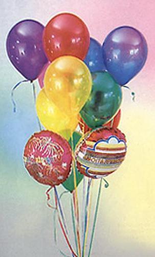 17 adet karisik renkli uçan balon buketi