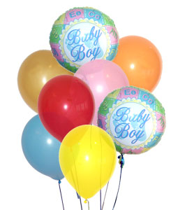 17 adet erkek dogum bebek balon buketi