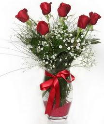 7 adet gülden cam içerisinde güller  İstanbul Ümraniye 14 şubat sevgililer günü çiçek