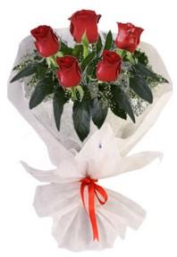 5 adet kirmizi gül buketi  İstanbul Ümraniye çiçekçiler