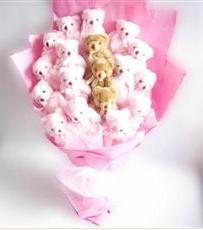 17 adet pelus ayicik buketi  İstanbul Ümraniye İnternetten çiçek siparişi