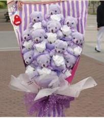 11 adet pelus ayicik buketi  İstanbul Ümraniye çiçek gönderme sitemiz güvenlidir