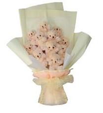 11 adet pelus ayicik buketi  İstanbul Ümraniye ucuz çiçek gönder