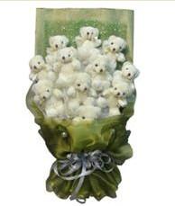 11 adet pelus ayicik buketi  İstanbul Ümraniye online çiçek gönderme sipariş