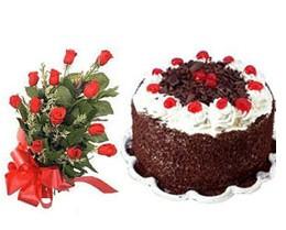 İstanbul Ümraniye ucuz çiçek gönder  10 adet kirmizi gül buketi ve yaspasta
