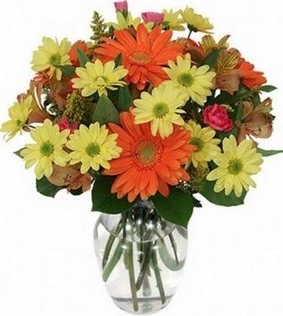 İstanbul Ümraniye hediye sevgilime hediye çiçek  vazo içerisinde karışık mevsim çiçekleri