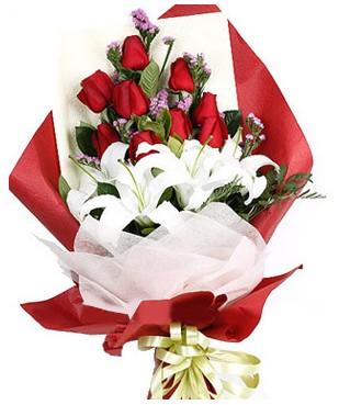 İstanbul Ümraniye çiçekçiler  1 dal kazablankaa 9 adet kırmızı gül buketi
