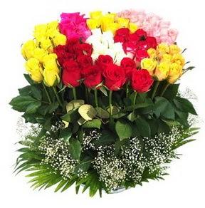 İstanbul Ümraniye çiçek mağazası , çiçekçi adresleri  51 adet renkli güllerden aranjman tanzimi