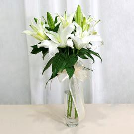 İstanbul Ümraniye anneler günü çiçek yolla  2 dal kazablanka ile yapılmış vazo çiçeği
