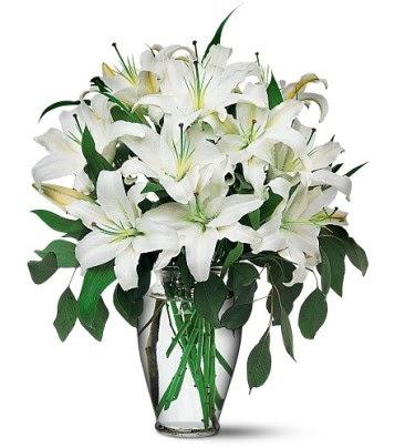 İstanbul Ümraniye internetten çiçek satışı  4 dal kazablanka ile görsel vazo tanzimi