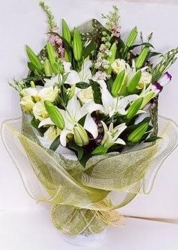 İstanbul Ümraniye çiçek servisi , çiçekçi adresleri  3 adet kazablankalardan görsel buket çiçeği