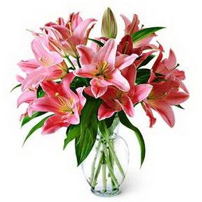 3 dal kazablanka görsel vazosu  İstanbul Ümraniye internetten çiçek siparişi