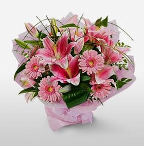 1 dal kazablanka ve kır çiçek görsel buketi  İstanbul Ümraniye internetten çiçek satışı