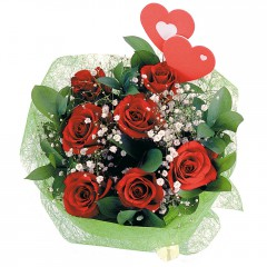 İstanbul Ümraniye internetten çiçek satışı  7 adet kırmızı gül ve 2 adet kalp çubuk