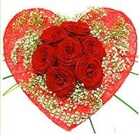 Mika kalp içerisinde 7 adet kırmızı gül  İstanbul Ümraniye çiçekçi mağazası