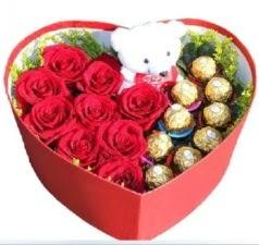 Kalp içerisinde 8 gül 9 çikolata ve ayıcık  İstanbul Ümraniye internetten çiçek siparişi