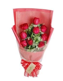 9 adet kırmızı gülden görsel buket  İstanbul Ümraniye ucuz çiçek gönder