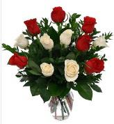 Vazo içerisinde 6 kırmızı 6 beyaz gül  İstanbul Ümraniye hediye çiçek yolla
