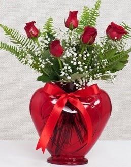 Kalp içerisinde 5 adet kırmızı gül  İstanbul Ümraniye çiçekçi telefonları