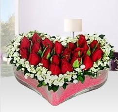 Kalp içerisinde 10 adet kırmızı gül  İstanbul Ümraniye anneler günü çiçek yolla