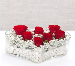kalp içerisinde 7 adet kırmızı gül  İstanbul Ümraniye çiçek siparişi vermek