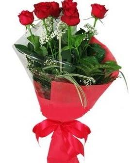 5 adet kırmızı gülden buket  İstanbul Ümraniye kaliteli taze ve ucuz çiçekler