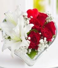 1 kazablanka 5 kırmızı gül kalpte  İstanbul Ümraniye internetten çiçek siparişi