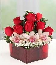 3 kandil orkide 5 kırmızı gül kalp mika  İstanbul Ümraniye internetten çiçek satışı